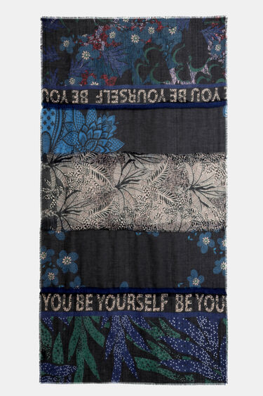 Rectangular floral and lettering foulard | Desigual
