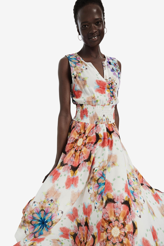 Asymmetric floral dress - RED - 38
