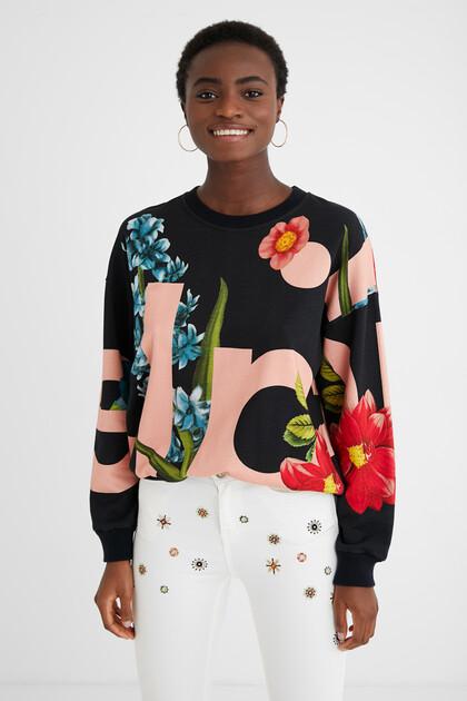Sweat-shirt coton ouaté fleurs