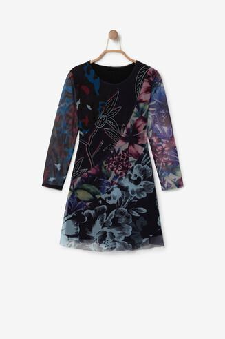 Vestido floral efeito 3D