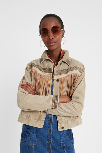 Fringed and embroidered trucker jacket