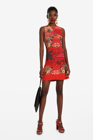 Slim Red Tropical Dress Anna