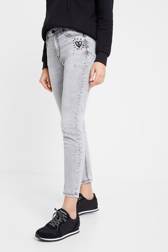 Skinny fit jeans with heart