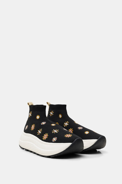 Sock sneakers embroidered wedge