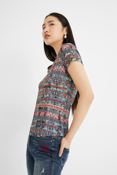 T-shirt manches courtes frises | Desigual