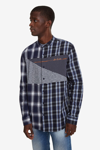 Mandarin collar checked shirt