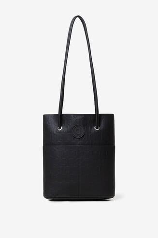 Czarna torba 2 w 1 z nadrukiem typu logomania