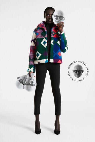 Short multicolour fur jacket | Desigual