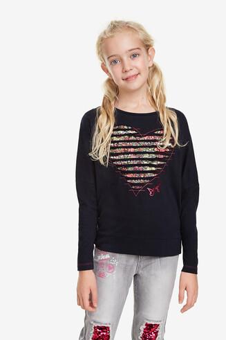 Herz-Shirt mit Fledermausärmeln