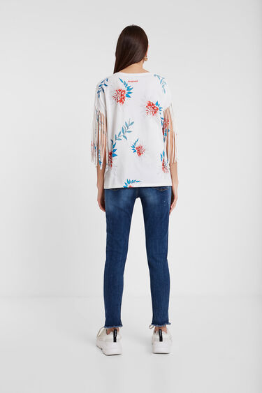 Tropical print T-shirt with fringe | Desigual