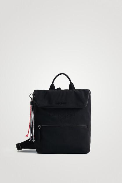 Quadratischer Rucksack vergrößerbare Verschlussklappe