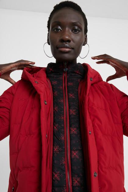 Long padded hooded coat