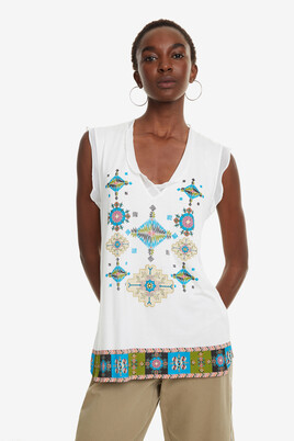 Ruffled Crepe T-shirt Martine