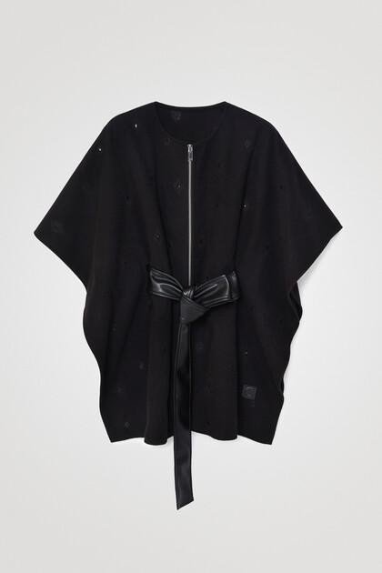 Poncho-capa cinturón y cremallera