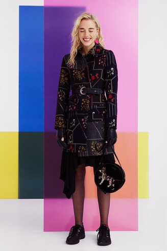 Floral patch coat