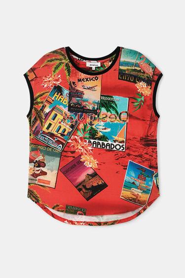 T-shirt manches courtes cartes postales | Desigual
