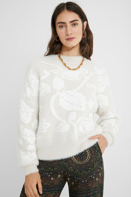 Plush floral jumper