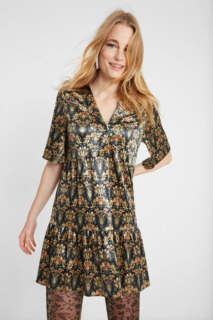 Gold floral print dress