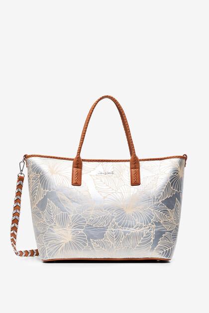 Shopping bag argent fleuri