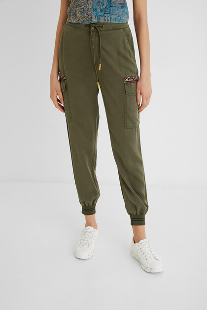 100% Lyocell cargo jogger trousers