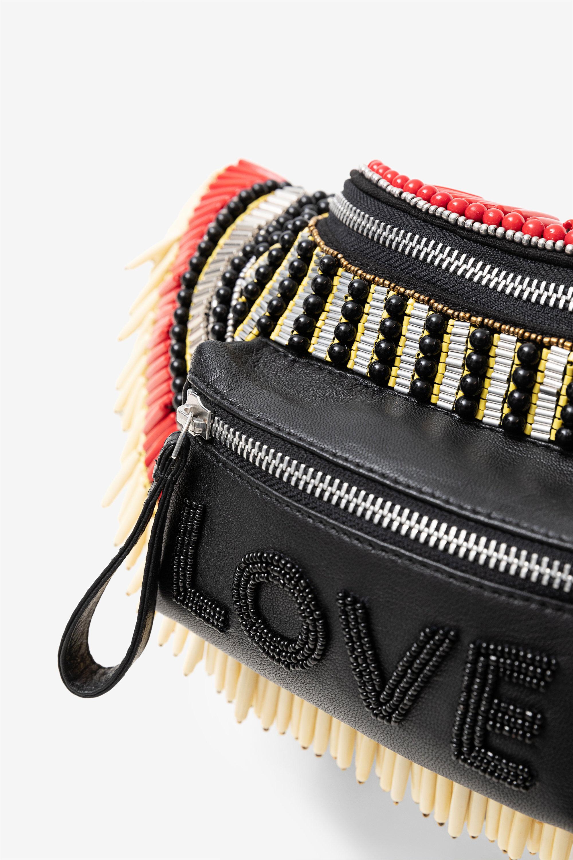 Multi Colour Glitter Effect Tribal Print Fabric Bum Bag