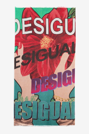 Foulard rectangulaire print lettering | Desigual