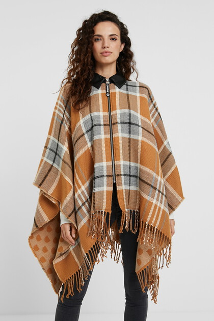 Collar and zipper plaid poncho