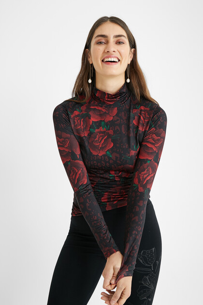 Slim-fit roses T-shirt