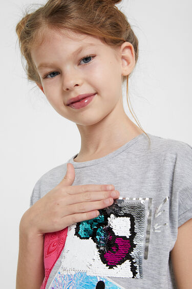 Hello Kitty patch T-shirt with reversible sequins | Desigual