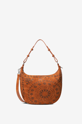 Leather-effect mandalas bag