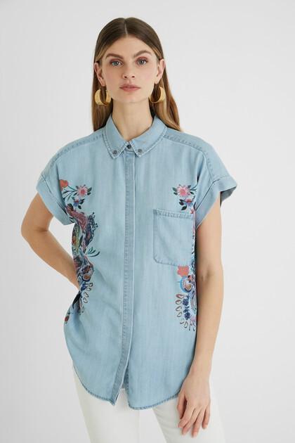 Tencel-Jeans-Bluse mit Blumen