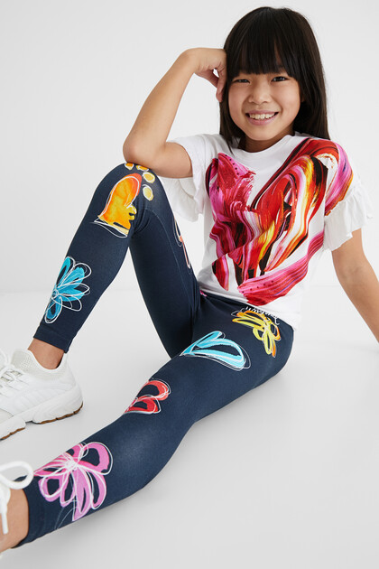 Slim long leggings flowers