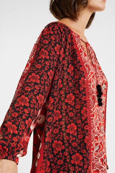 Loose boat neck blouse flowers | Desigual