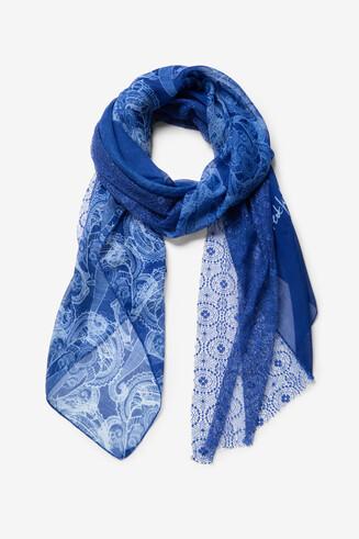 Blauwe rectangle sjaal Blue Elephant