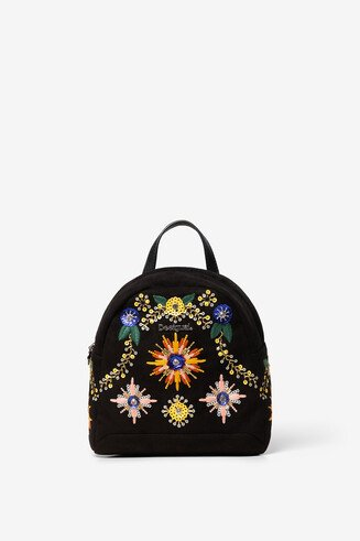 Beaded and embroidered mini backpack