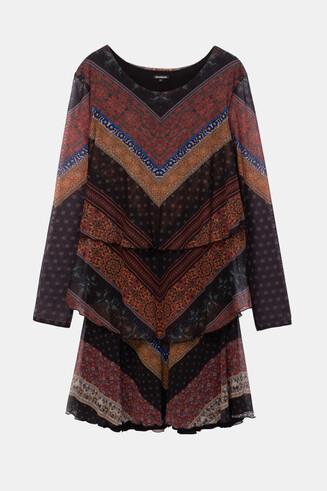 Ruffled flared frieze pattern dress