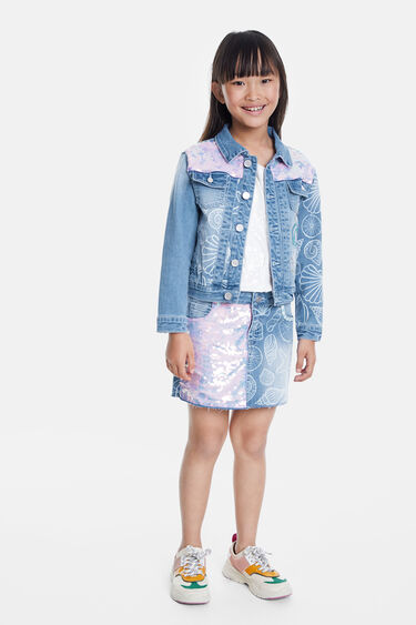 Jean jacket with conches and sequins | Desigual