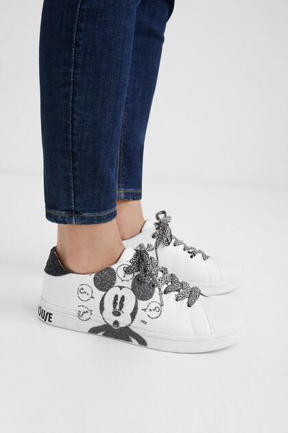 Sneakers Kunstleder Glitzer-Details