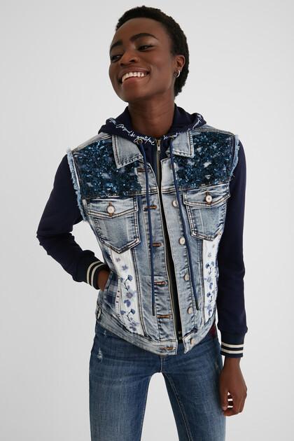 Bimaterial slim jean jacket
