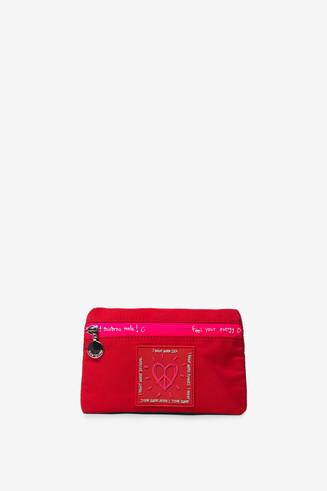 Red and fuchsia coin purse zipper