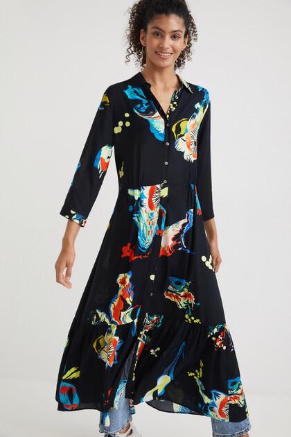 Long print shirt dress