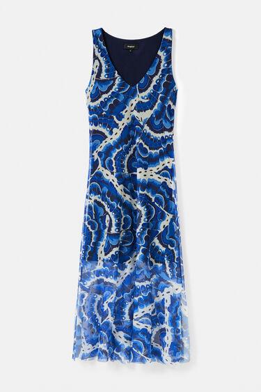 Robe longue avec tulle et effet eau | Desigual