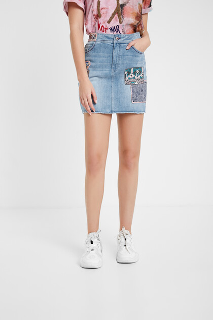 Boho denim skirt