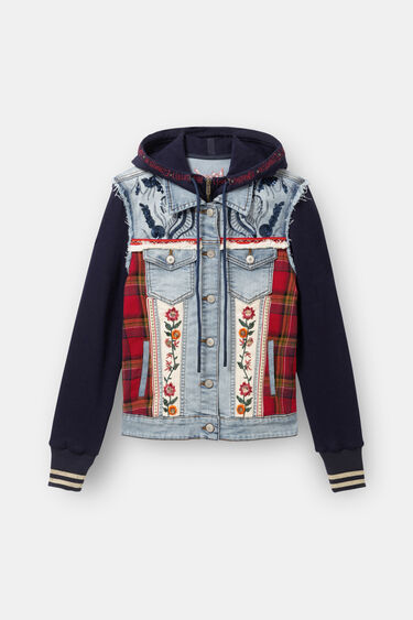 Denim and plush trucker jacket | Desigual