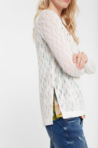 Fijn gebreide trui met visgraatdessin | Desigual