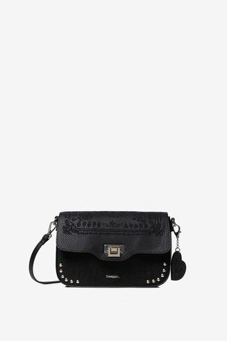 Embossed sling bag with matching keyring