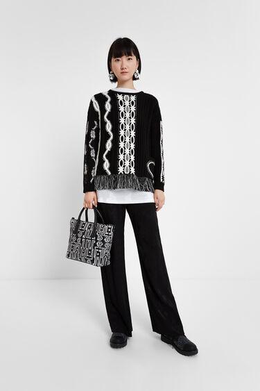 Black & White jumper fringe | Desigual