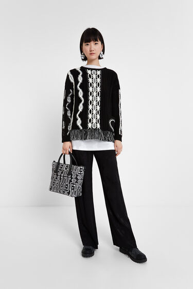 Pull franges Noir & Blanc | Desigual