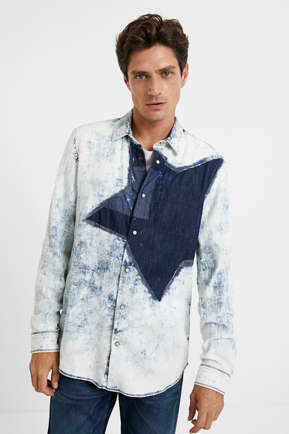 Worn denim shirt