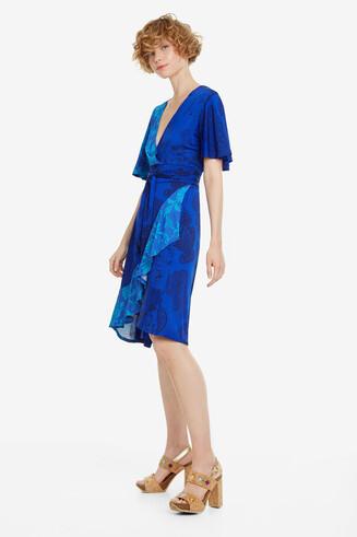 Vestido azul con volantes Fedra